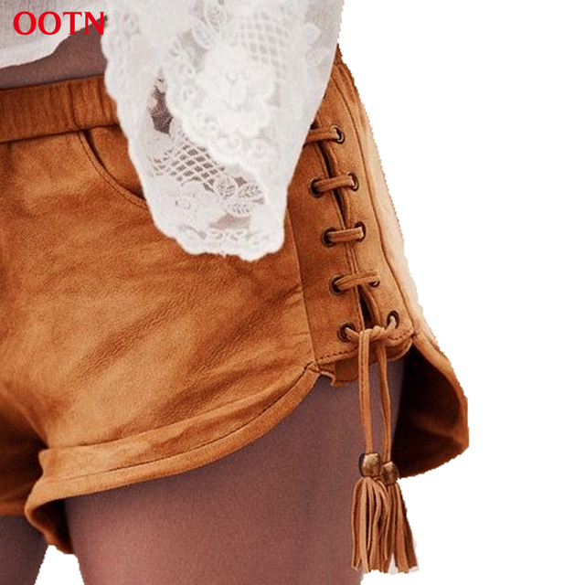 OOTN LDDK001 Skinny Suede Shorts Women Sexy Elastic Waist Summer Shorts Pockets Tassel Fashion Street Trend 2017 High Quality