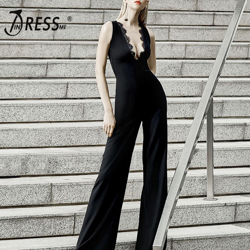 INDRESSME Sexy Deep V Lace Bodycon Women Jumpsuits Fashion Solid Black Women Bandage Jumpsuits Full Length