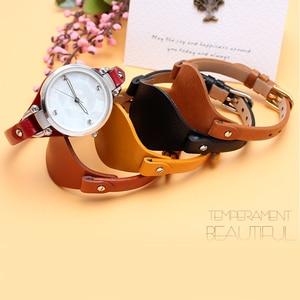 Image 4 - עור אמיתי צמיד רצועת נשים רצועת השעון קטן חגורת 8mm עבור מאובנים ES4176 ES4119 ES4026 3262 3077 שעון להקת עם מחצלת
