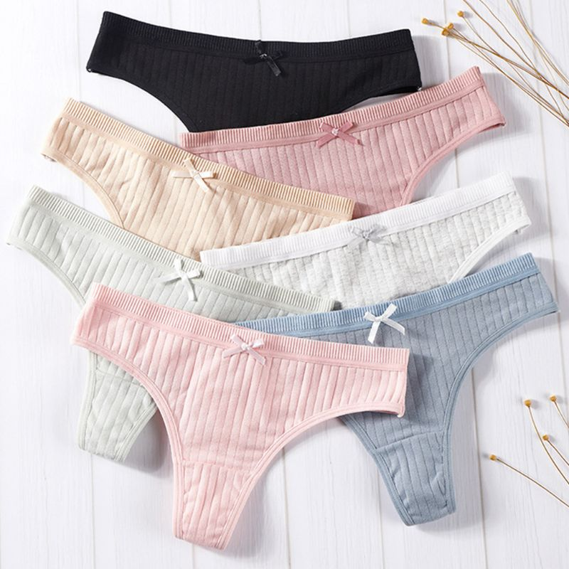 Women Sexy Low Rise Cotton G-String Lingerie Plain Solid Color Bowknot Panties Thong Thread Ribbed Striped Underwear Briefs