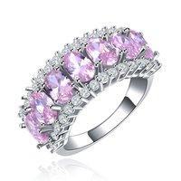 Cocktail Rings Luxury White Gold Plated Jewelry For Women Party Wedding Bague CZ Diamond Round Engagement