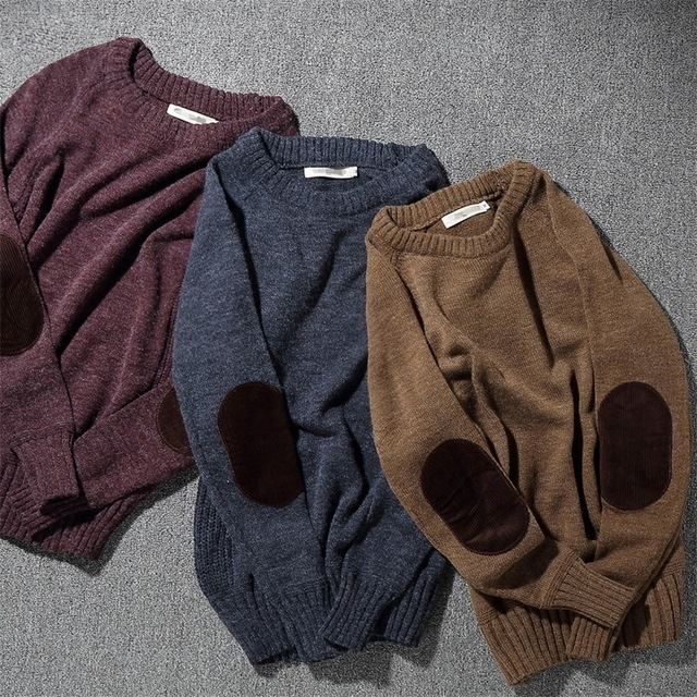 Autumn Winter Mens Sweaters Rabbit hair blended Sweater Long Sleeve O-Neck corduroy patch Casual Knitted Sweater Pullover XT063