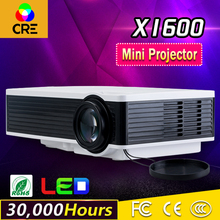 Venta superior barato VGA HDMI USB VGA conexión 30,000 horas led tiempo de la vida haciendo gran promoción inteligente mini proyector LED cre x1600