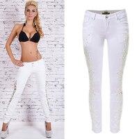 Olrain Sexy Vrouwen Witte Lage Taille Skinny Jeans Slanke Kant Patchwork Denim Potlood Broek