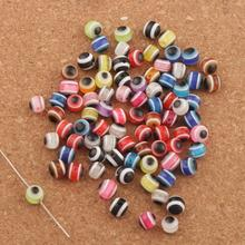 240PCS 6mm Evil Eye Stripe Round Resin Spacer Beads Multicolor Loose Beads L3041 loose resin beads s 16x20mm diy shamballa resin rhinestone beads