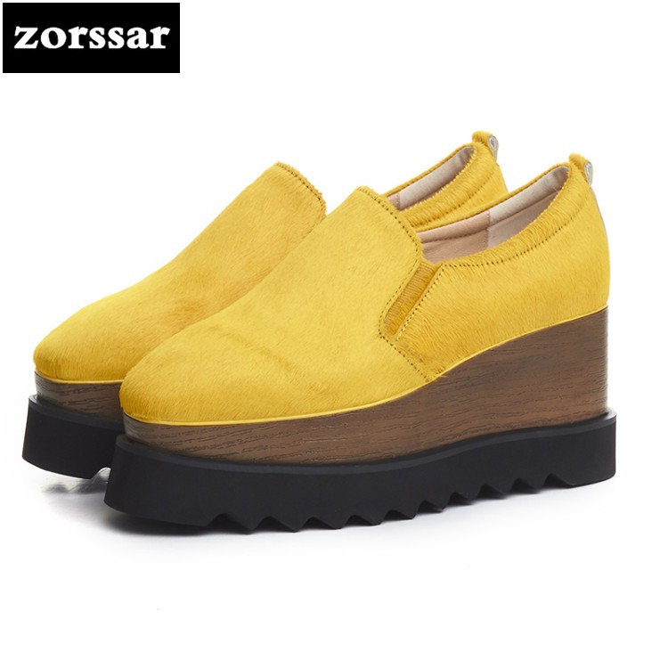 {Zorssar} 2018 NEW Fashion Genuine Leather horse hair womens Platform shoes casual Wedges High heels pumps women Creepers shoes bling patent leather oxfords 2017 wedges gold silver platform shoes woman casual creepers pink high heels high quality hds59