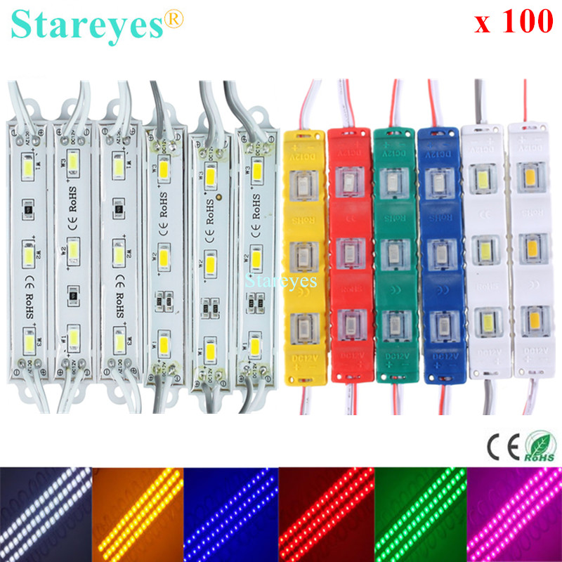 100 Pcs SMD 5630 5730 3 LED DC12V LED Module IP63 IP65 Waterproof Advertisement LED Advertising strip lamp bulb signboard Light