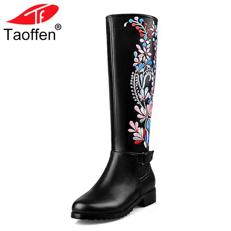 TAOFFEN Women Real Leather Med Heel Knee High Winter Boots For Women Embroidery Flower Brand Shoes Women Warm Bota Size 34-39 все цены