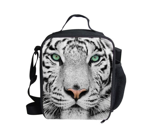 FORUDESIGNS New Fashion 3D Animal Printed Kids Lunch Bag,Tiger Head Children Zoo Picnic Bags,Sling Bag Insulated Lunchbox