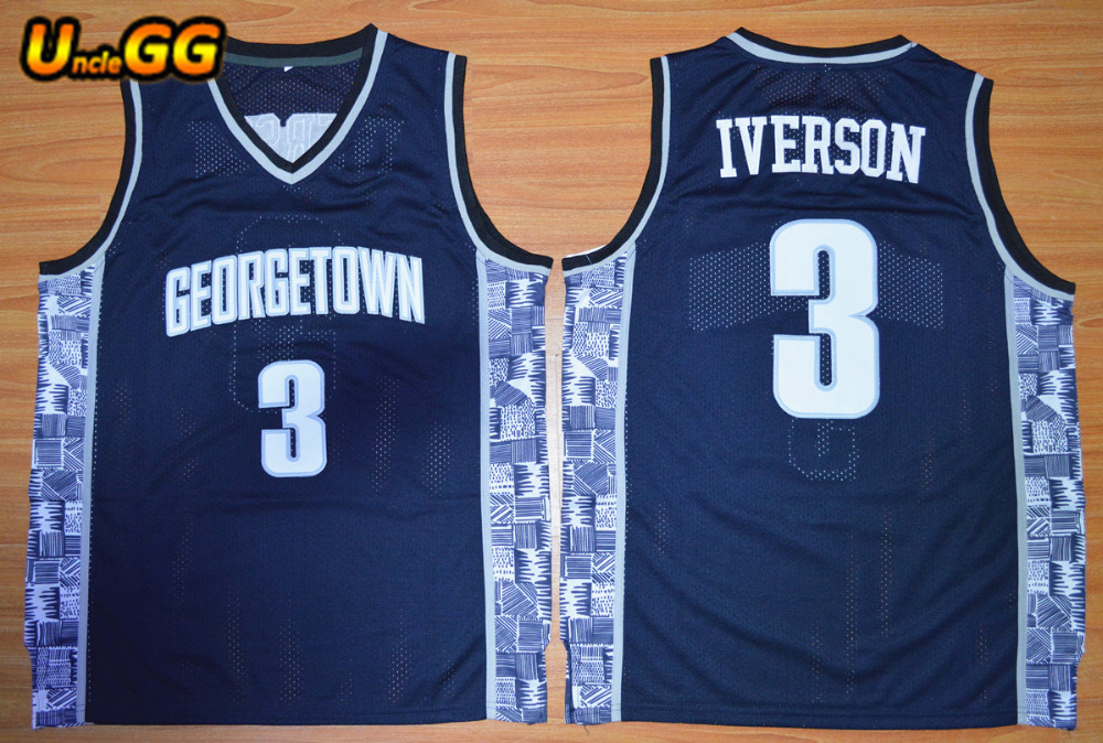 info for 967b7 fade9 Uncle GG Hot Sale Allen Iverson Jersey Georgetown Hoyas Throwback College  Basketball Jersey Stitched Sport Shirt Vest Wholesale-in Basketball Jerseys  ...