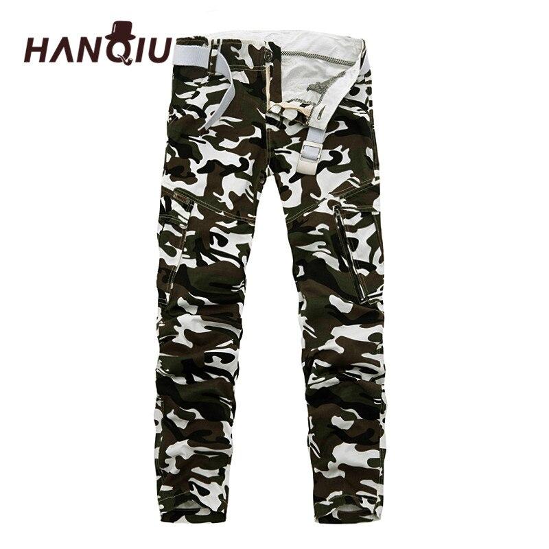 HANQIU Men Pants Pencil-Trousers Loose Camouflage Cotton Fashion 9-Colors No-Belt Comfortanble