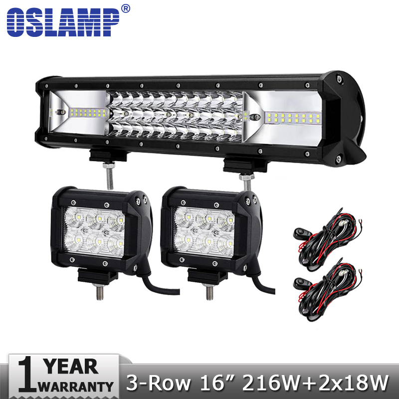 Oslamp 3-row 16inch 216W LED Light Bar Offroad Led Bar Combo Beam+2x18W Spot Flood Led Work Lights Truck SUV ATV 4x4 4WD 12v 24v 17 inch 108w led light bar spot flood combo light led work light bar off road truck tractor suv 4x4 led car light 12v 24v