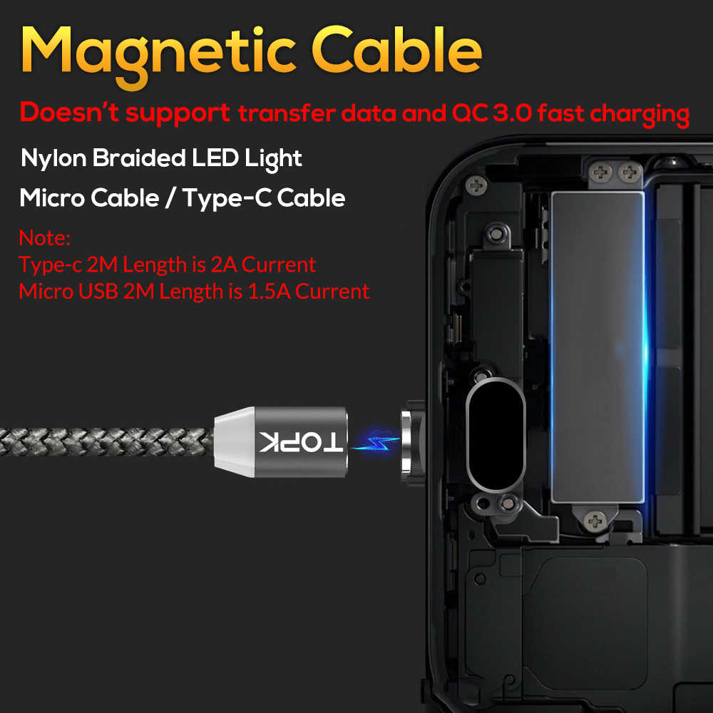 TOPK AM17 1M LED Magnetic USB Cable for iPhone Xs Max 8 7 6 & USB Type C Cable & Micro USB Cable for Samsung Xiaomi LG USB C