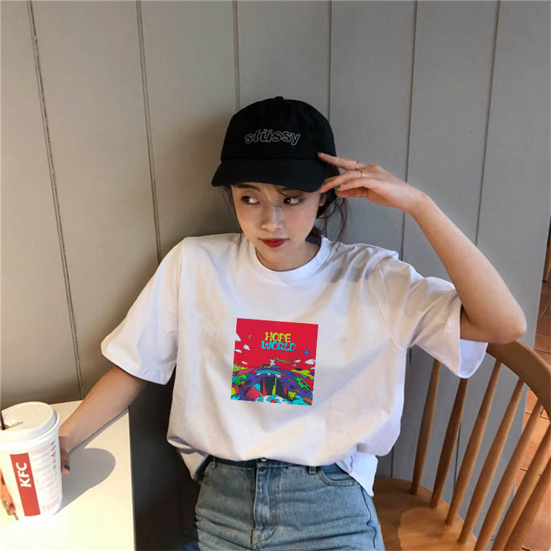 Album Hope World Graphic Women Funny T Shirt Hipster Tshirt Col Roul Female T-shirt Harajuku Friends Vlone Mesh Top Dropshipping