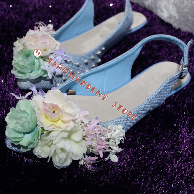 ФОТО Women Pointed Toe Fashion Linen Shoes Summer Flower Bead Decorated Women Flats Mixed Colors Buckle Elastic Band Women Shoes