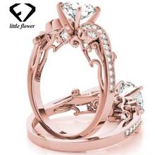 Księżniczka zaręczynowe pierścionki z diamentem z cyrkonią palec blisko biżuteria Bizuteria Bague Etoile pierścionki biżuteria kamień róża róża pierścionki tanie tanio HOYON Różowe złoto 14 k CN (pochodzenie) Kobiety Diamond Vvs1 Okrągły kształt Bardzo dobry Certyfikat GDTC Drobne