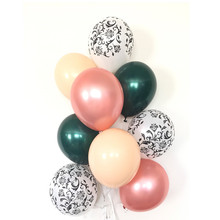 Rose Gold Balloons | Damask Green and Blush Bridal Shower Decor Black White Ball
