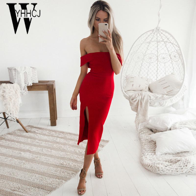 WYHHCJ 2017 vestidos women Spring/summer dress sexy off shoulder sleeveless women dress bodycon sides split party dresses female