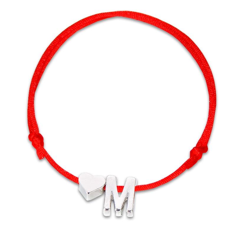 Новый браслет золотого и серебряного цвета с изображением крошечного сердца и имени и букв для женщин и мужчин, веревочные красные браслеты...