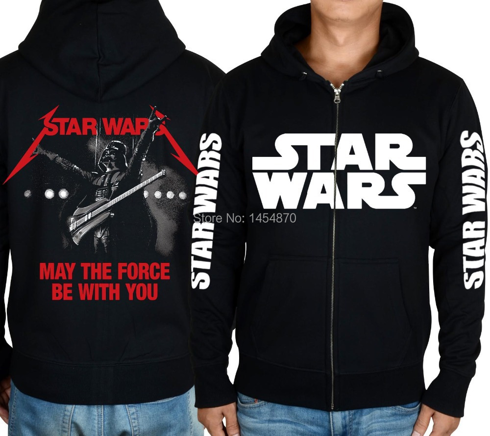 Fashion Super Cool Film Star Wars Darth Vader Hoodies Winter jacket Punk Black Sweatshirt fleece zipper XXXL
