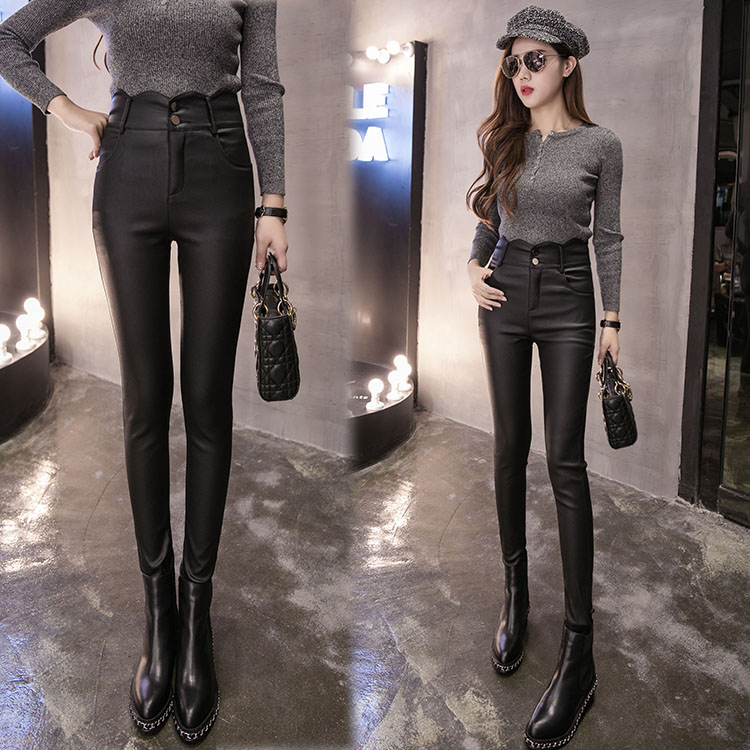 New Women Casual Basic Autumn Winter PU Leather Long pencil   pant     Capris   Black Leggings Large Size