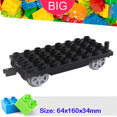 Large Building Block compatible Duplo Parts 31507 Train Base 4x8 Classic Piece Big Dot Brick Toy Accessory Bricklink D31507 hm136 57pcs large particle building