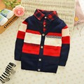 2016 Autumn Winter England Style Plaid Patchwork baby Boys Sweaters Children's Kids Warm Clothes Gift For Boy