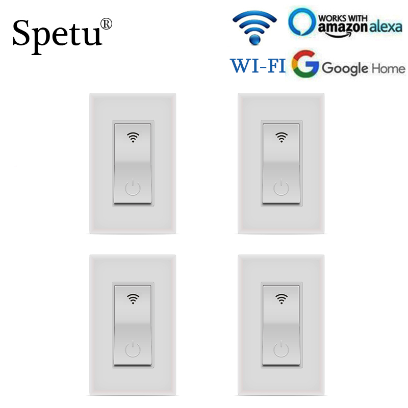 Spetu 4pcs/lot Smart Wifi Wall Light Switch Touch APP Remote Wall Touch Switch Works With Alexa Amazon Alexa Google Home,IFTTT
