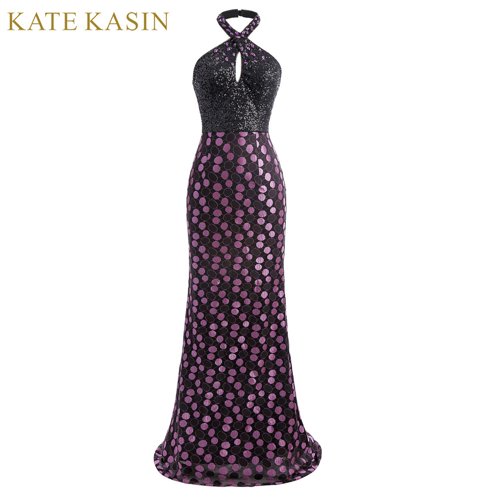 Kate Kasin Crystal Beading Prom Dresses 2018 Floor Length Party Formal Gown Backless Long Evening Prom Dress Vestido de Festa