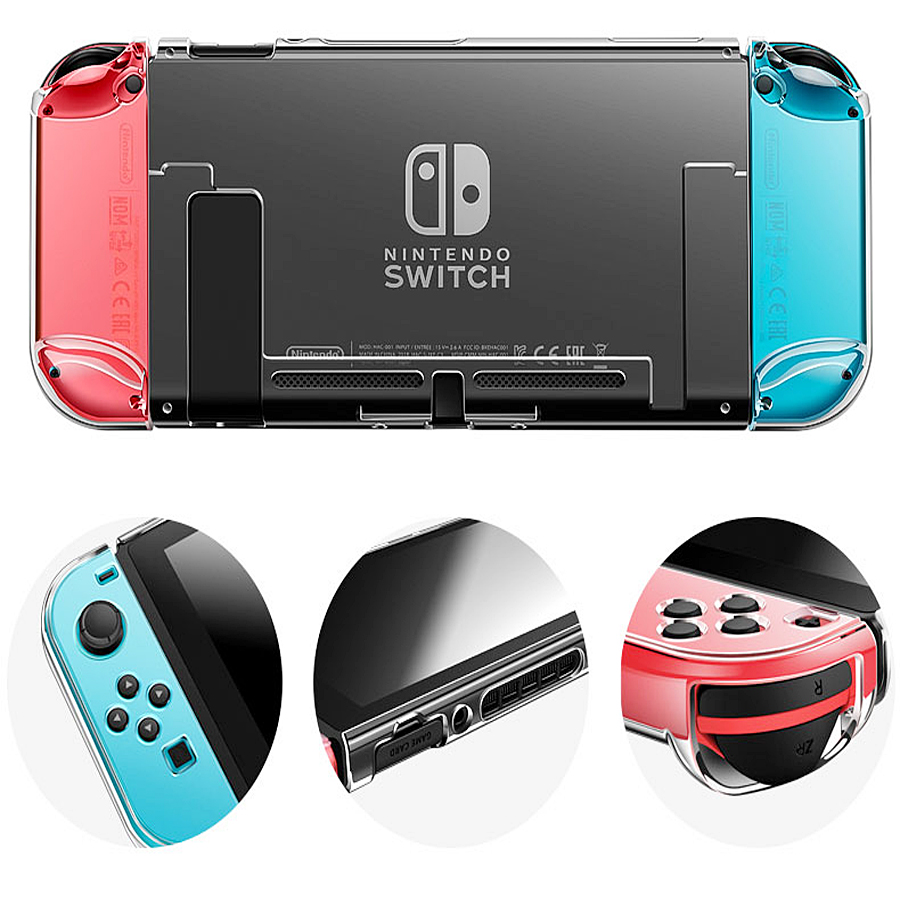 9 in 1 Kit Big Protective Case Storage Bag for Nintend Switch Console Charger & Handgrips& Steering Wheels& Crystal Shell& Stand 5