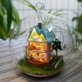 B003 mini house for Christmas gift Miniature Castle dollhouse voice LED light doll house in Glass ball diy toys free shipping