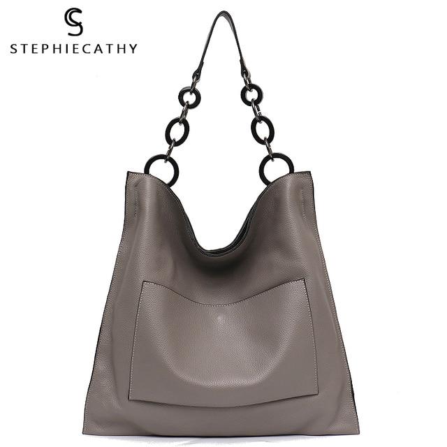 SC מותג יוקרה 100% אמיתי תיקי עור לנשים אופנה כיס גדול קיבולת גדול שרשרת כתף תיקי Tote Hobos A4