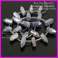 Polished Cut Purple Coated Crystal Quartz Top Drilled Briolette Sticks Titanium Quartz Bullet Points Gems Druzy
