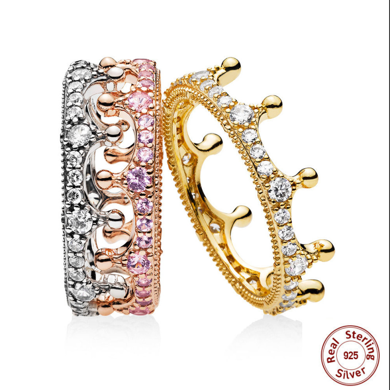 2018 New Authentic 925 Sterling Silver Rose Gold Silver Pink Shine Enchanted Crown Ring For women panqiou Ring Luxury Jewelry 25 style 925 sterling silver ring charm princess crown flower heart silver charms finger ring for women jewelry