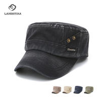 Spring Autumn New Cotton Army Flat Cap For Men Fashion Adjustable Peaked Cap With Copper Men
