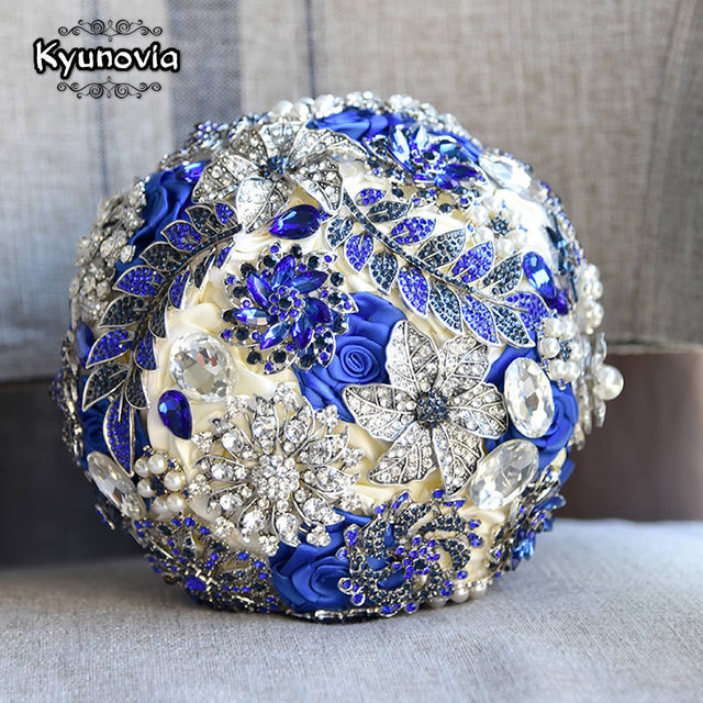 Kyunovia Stunning Bride Brooch Bouquet Royal Blue Leaf Bouquet ...