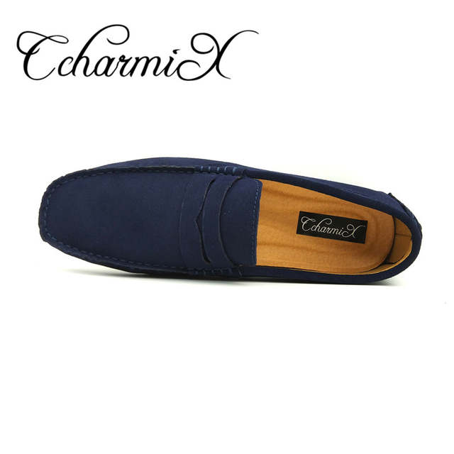 6cdab6a6254 Online Shop Men Casual Suede Leather Loafers Black Solid Leather Driving  Moccasins Gommino Slip on Men Loafers Shoes Male Loafers Big Size