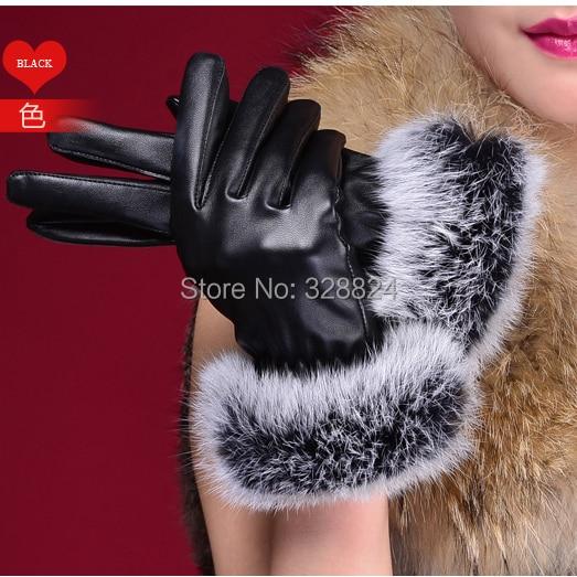 Free Shipping Fur Women Gloves For Women Pu Leather Gloves Sheepskin Women Gloves Warm Winter Gloves