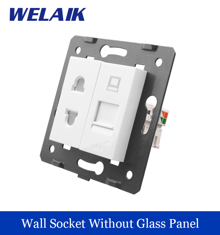 WELAIK EU Standard 2-hole multi-function socket and computer  Socket DIY Parts  White parts Without Glass Panel A8TSCO welaik free shipping white plastic materials diy accessory function key for hdmi socket eu standard socket a8hd