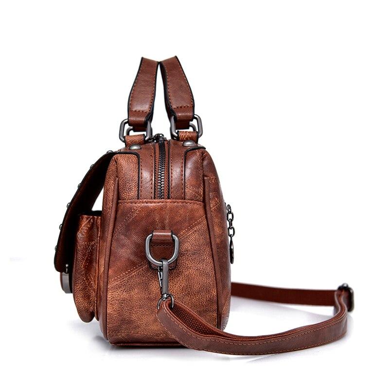 New Fashion Leather Women's Handbag Office Ladies Shoulder Sling Bags Handmade Sheepskin Leather Messenger Satchel Bags Rivet