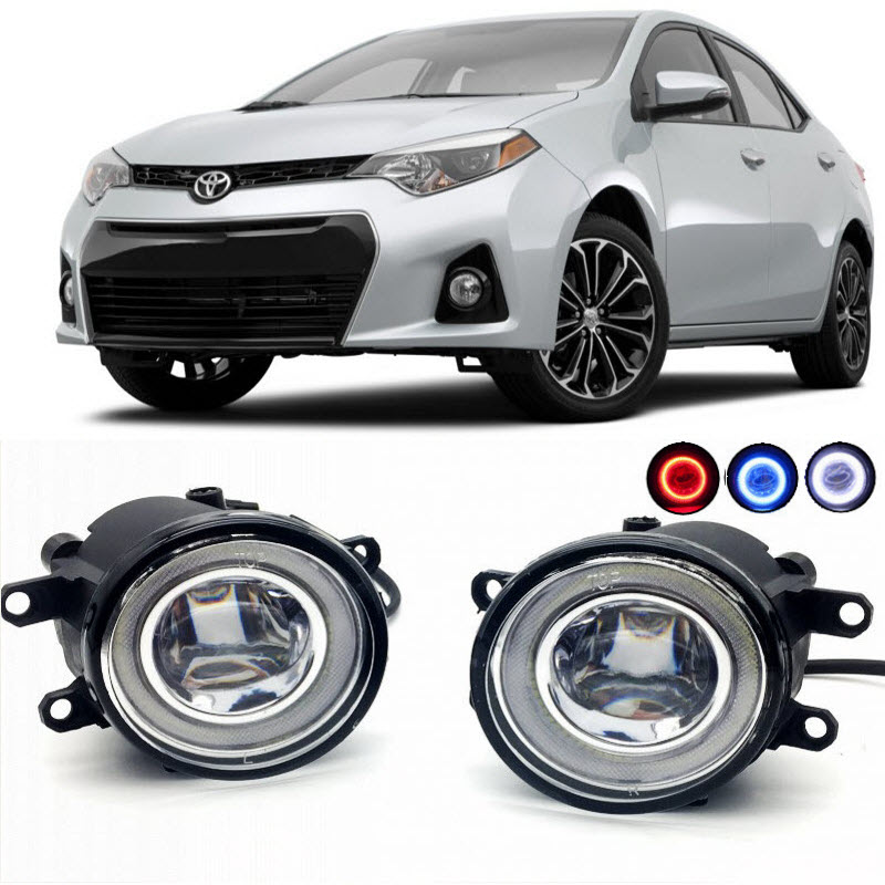 2 in 1 LED Cut-Line Lens Fog Lights Lamp 3 Colors Angel Eyes DRL Daytime Running Lights for Toyota Corolla 2007- 2014 2015 2016 car styling 2 in 1 led angel eyes drl daytime running lights cut line lens fog lamp for land rover freelander lr2 2007 2014