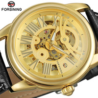 Forsining Gold Bezel Retro Men Skeleton Mechanical Watch Luminous Hands Top Brand Luxury Leather Skeleton Automaitc Wrist Watch