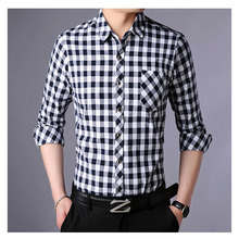 Fashionable gorgeous famous brand spring and summer men's long-sleeved shirt single-breasted long-sleeved plaid shirt men 2019men slim plain long sleeved fashionable stand up collar shirt and shirt
