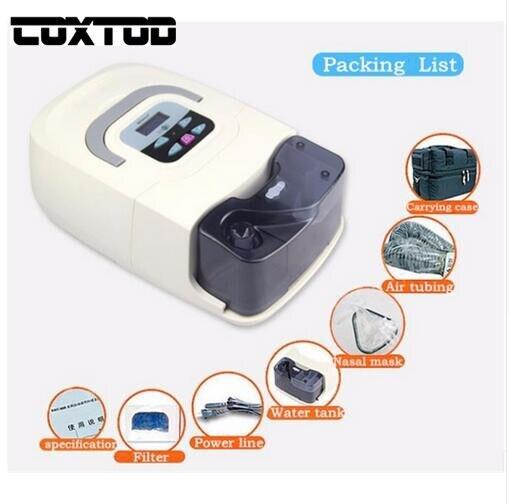 COXTOD Uso Doméstico Portátil Máquina de CPAP SAHOS SAOS Respirador para a Apnéia Do Sono Ronco Pessoas W/Máscara Nasal, chapelaria, tubo, saco