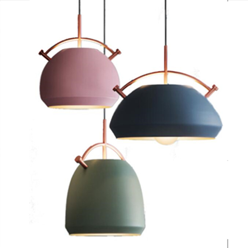 Nordic modern pendant light indoor lighting colorful vintage LED lamp indoor hanging Bar Restaurant light fixture AC110-265V modern colorful color stone glass pendant lights retro hanging restaurant lustres g4 led bulbs fixture indoor lighting