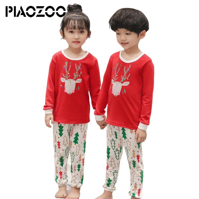 kid Pajamas sets girls pajama boys pijamas nightwear cotton long sleeve christmas set girls sleepwear homewear clothing set P20 цена