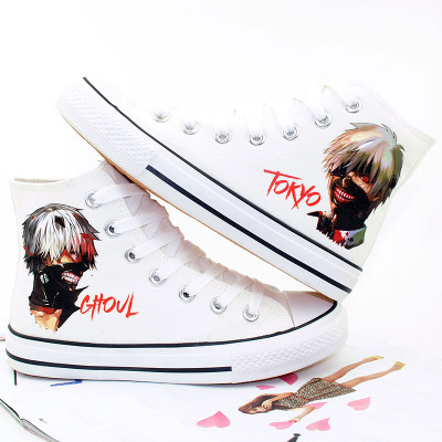 2018 Men Tokyo Ghoul Cosplay Canvas Shoes Fashion Hand Painted High-Top Shoes Kaneki Ken Student style Sneakers A51009 rolecos black hot japanese anime cartoon character tokyo ghoul cosplay kaneki ken costume female fighting dress cosplay costume