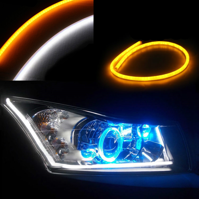 JURUS 30cm flexible led tube strip white/yellow soft daytime running light drl headlamp car styling parking lamps promotion car styling 2x white blue red yellow green flexible tube style headlight headlamp strip angel eye drl decorative light parking