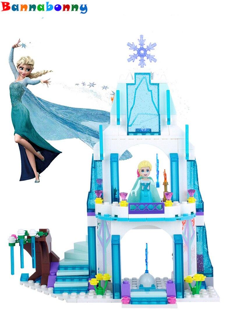Anna Elsa Snow Queen Elsa's Sparkling Ice Castle Building Toys Blocks Brick Compatible Friends with Lepin Toys lele 79168 elsa queen lainio snow village bricks toys minifigures building block toys best legoelieds
