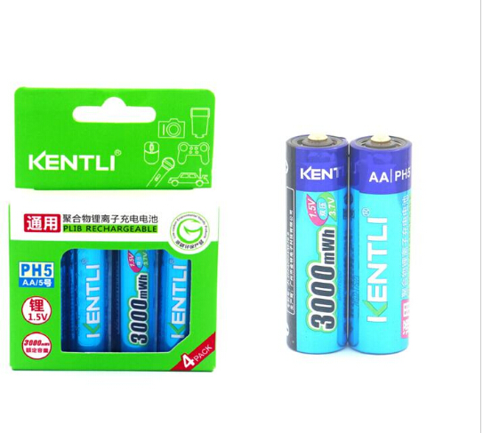 KENTLI 6pcs/pack High Capacity free shipping lithium ion batteries 3000mWh 1.5V lithium polymer battery rechargeable AA battery free shipping 4 8v battery pack 4500mah sc receiver battery pack 10c high rate battery pack